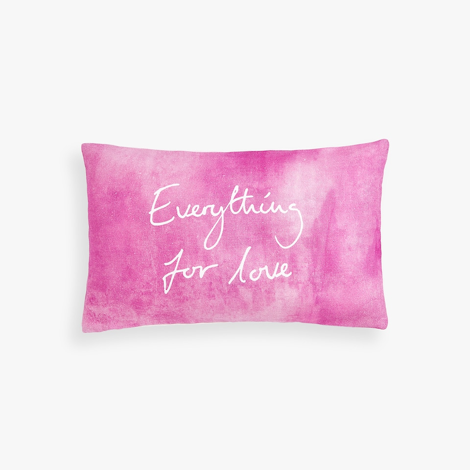 LINEN CUSHION COVER WITH SLOGAN