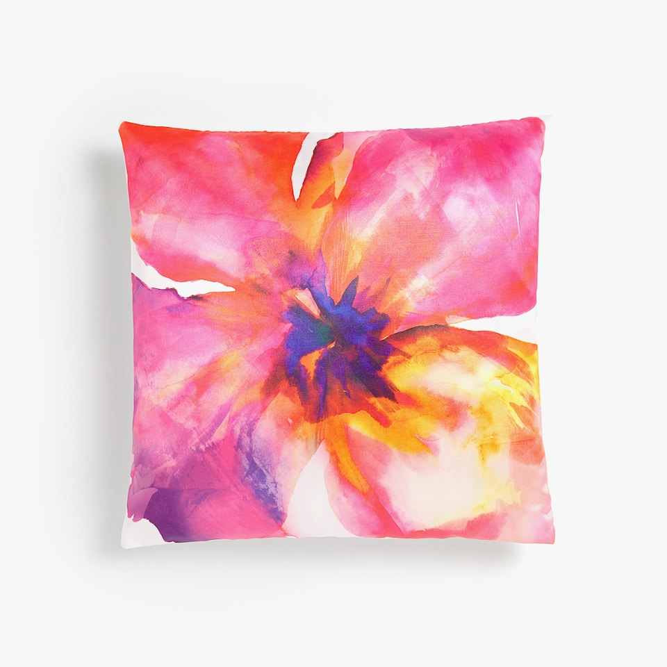 MULTICOLORED MAXI FLOWER THROW PILLOW COVER