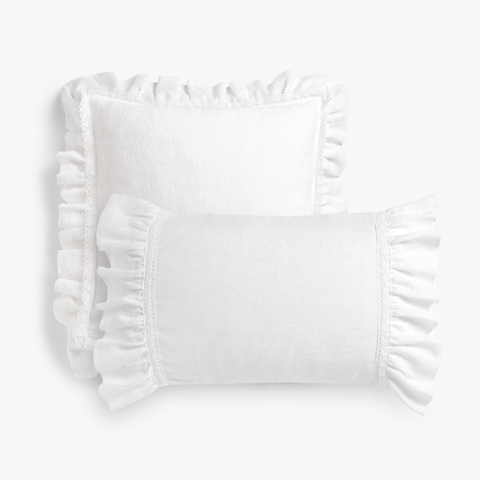 JACQUARD THROW PILLOW COVER WITH RUFFLE
