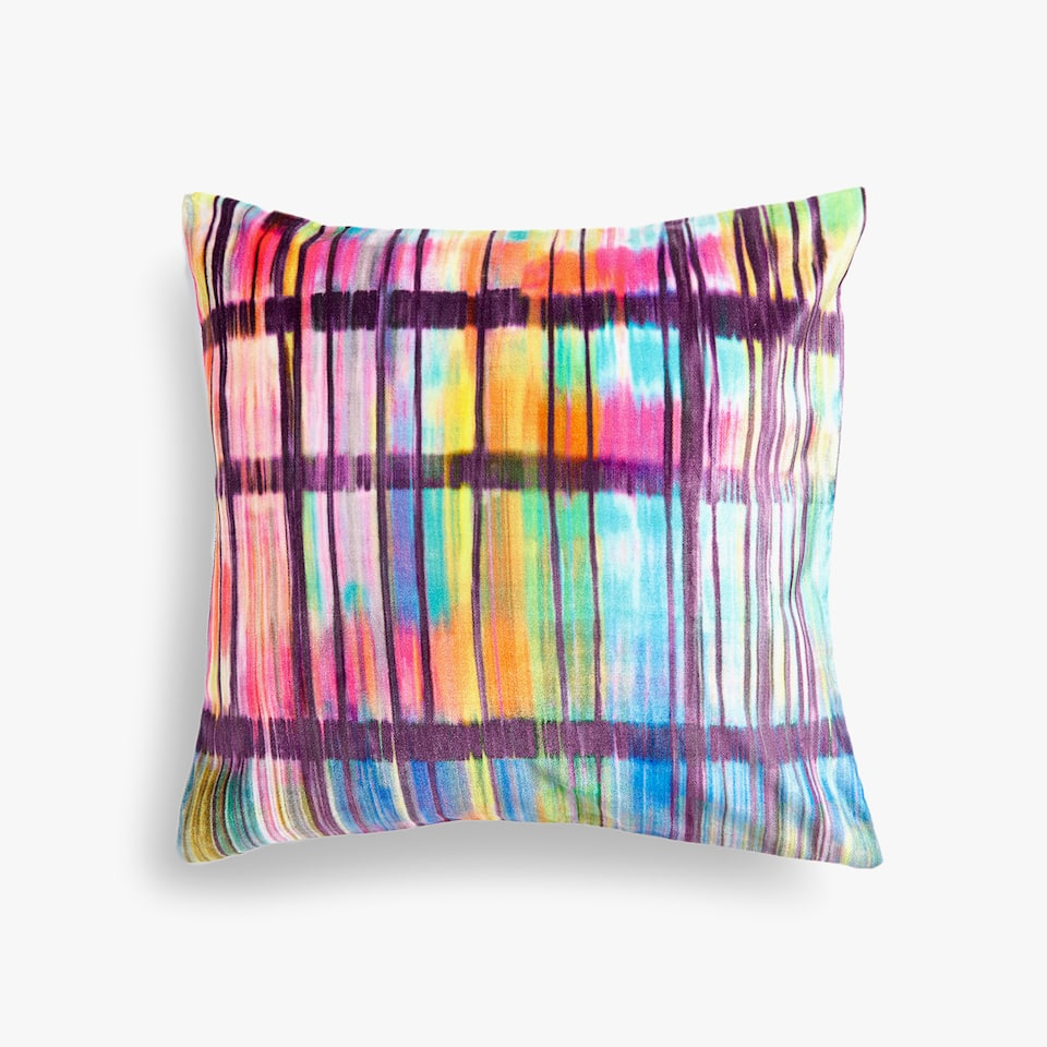 MULTICOLOURED CHECKED CUSHION COVER