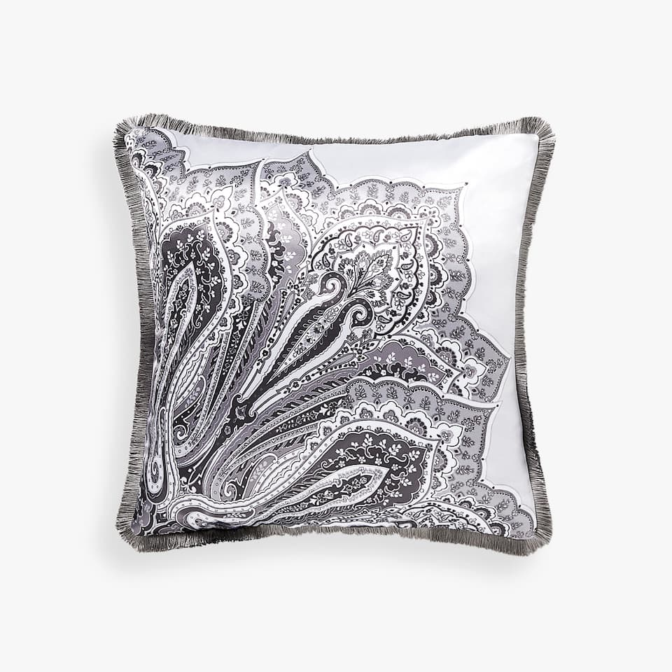 PAISLEY CUSHION COVER WITH FRINGE