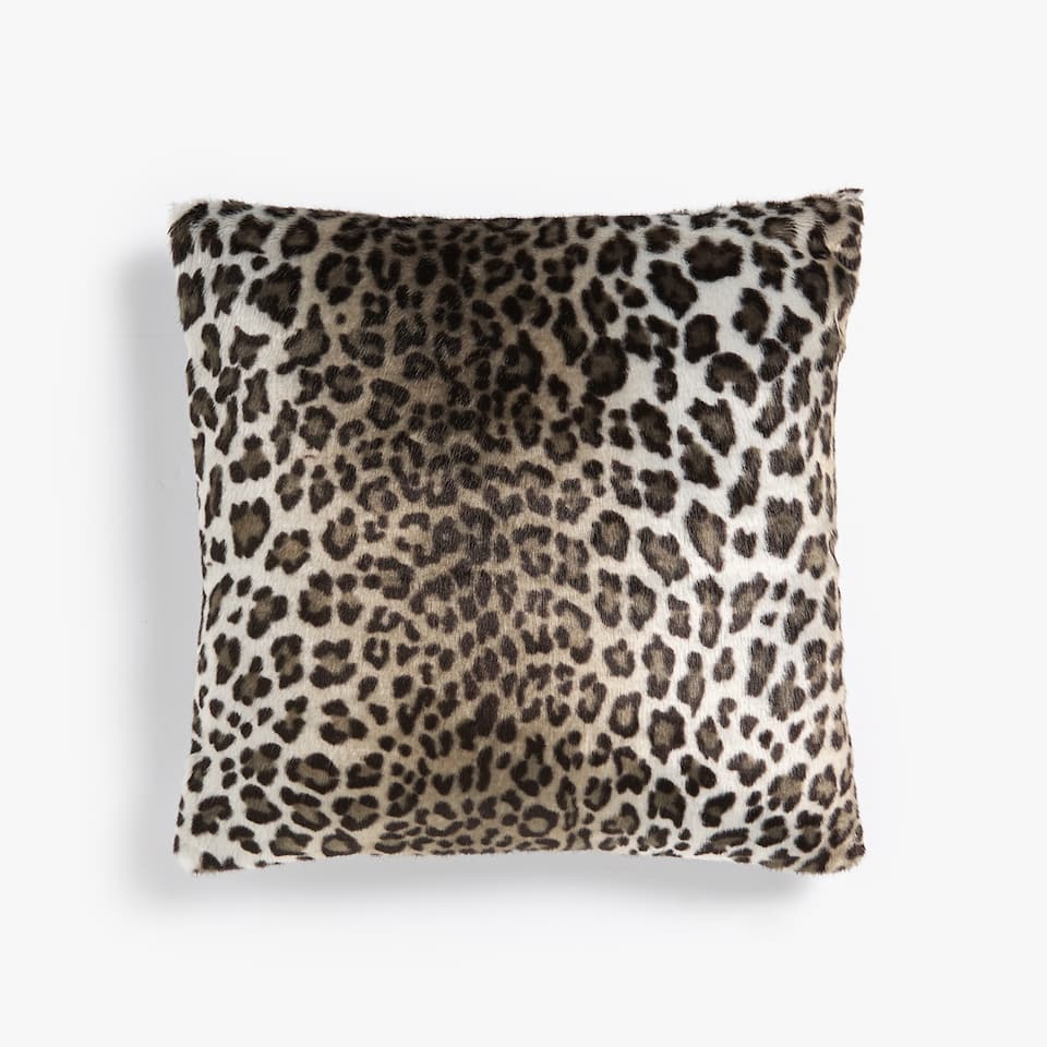 FAUX FUR ANIMAL PRINT CUSHION COVER