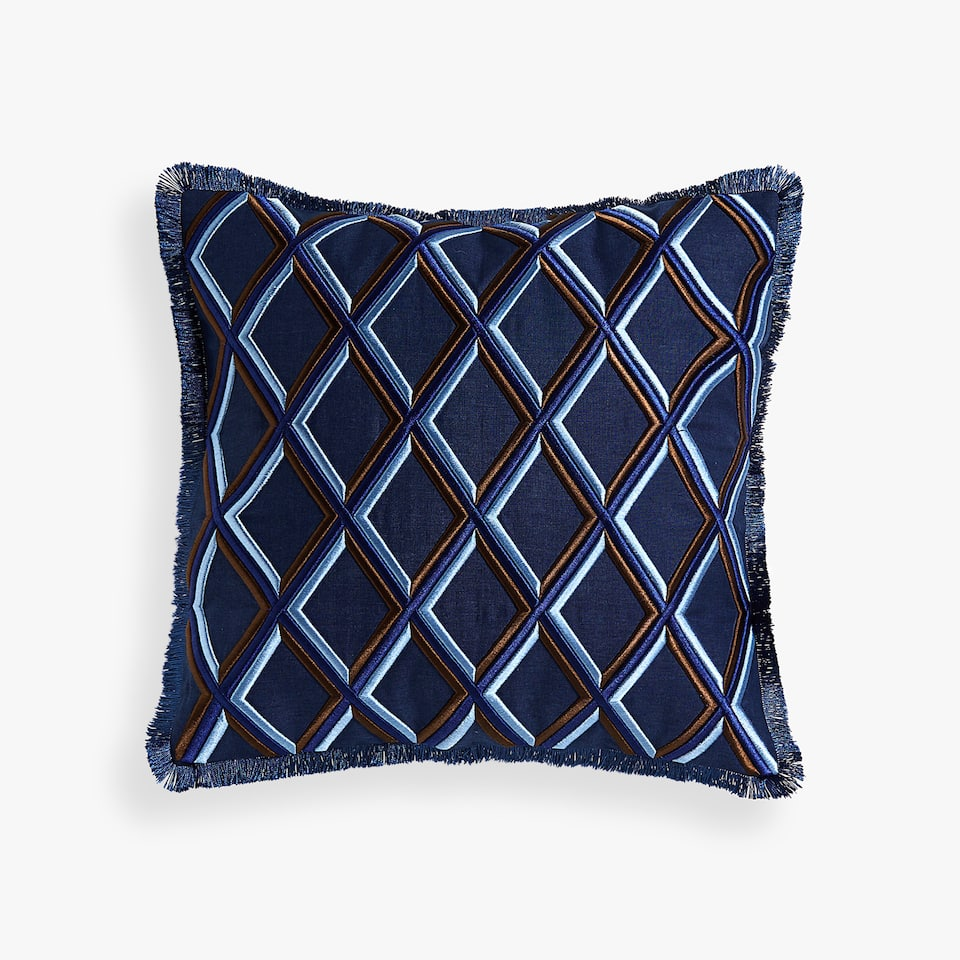EMBROIDERED DIAMONDS CUSHION COVER
