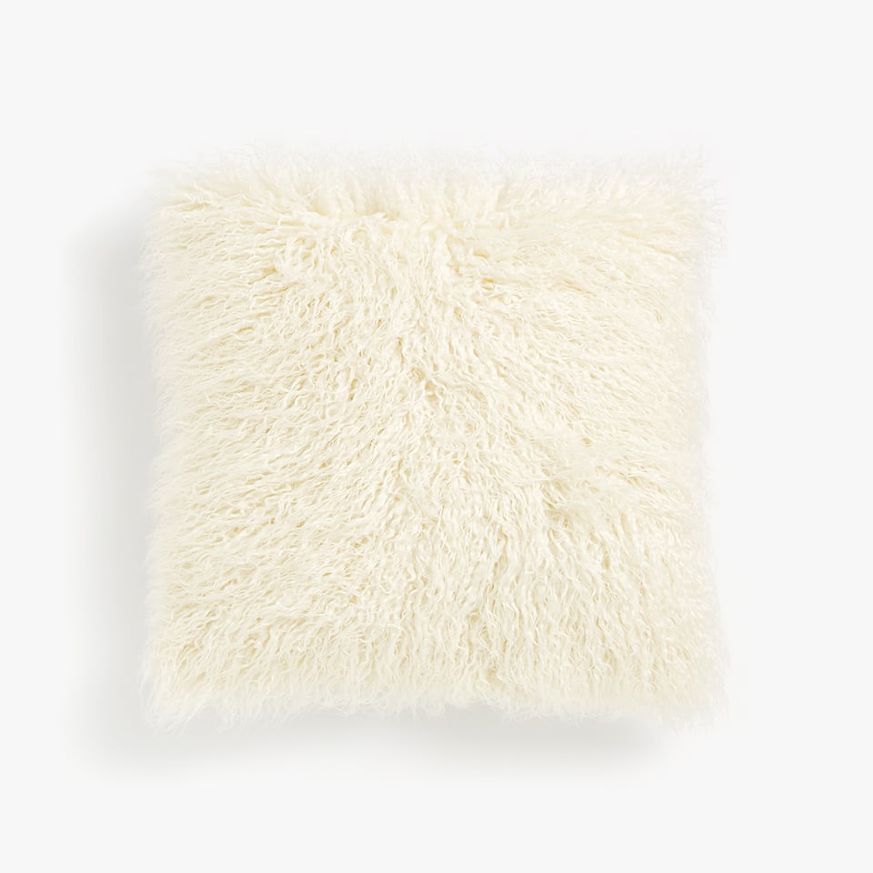 THROW PILLOW COVER WITH LONG FAUX FUR