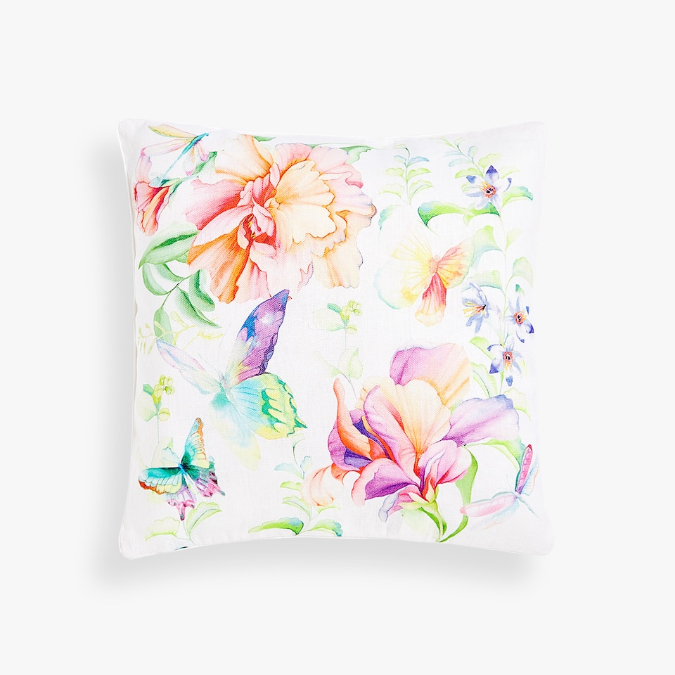 FLOWER AND BUTTERFLY THROW PILLOW COVER