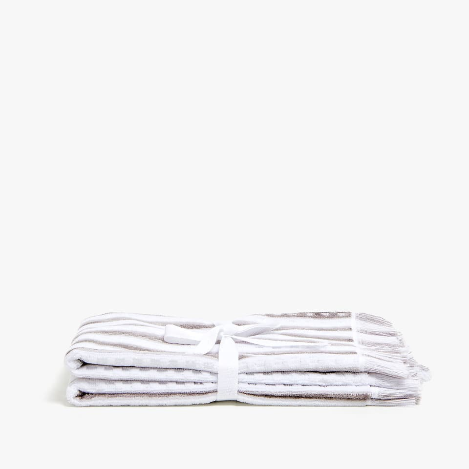 VELVET STRIPED TOWEL (SET OF 2)
