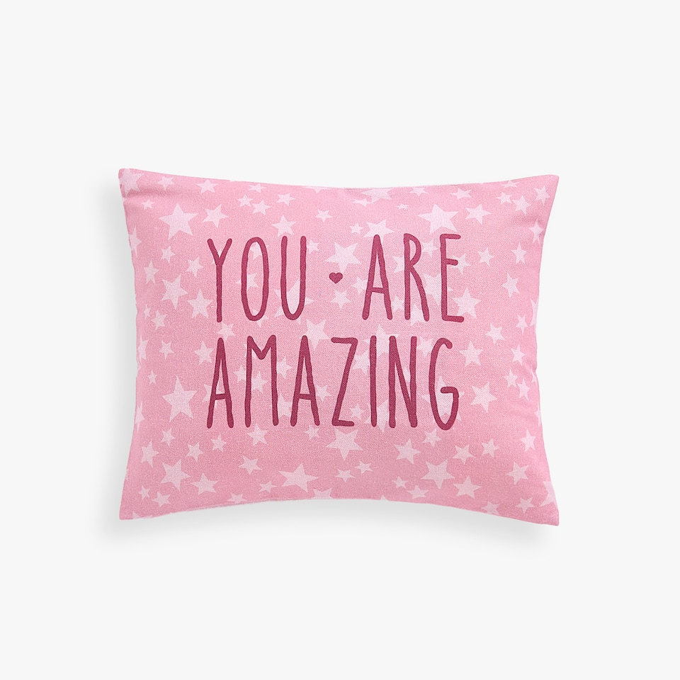 CUSHION COVER WITH SLOGAN PRINT
