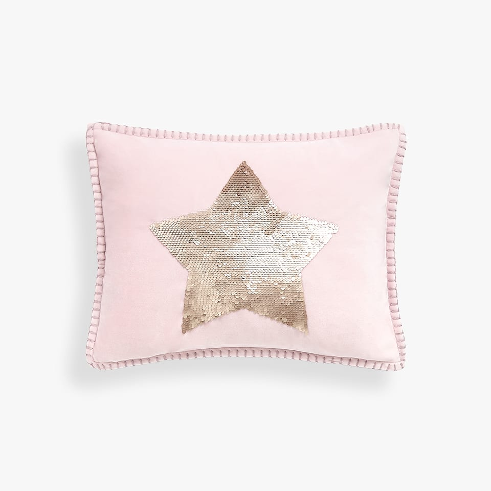 SEQUINNED STAR CUSHION COVER