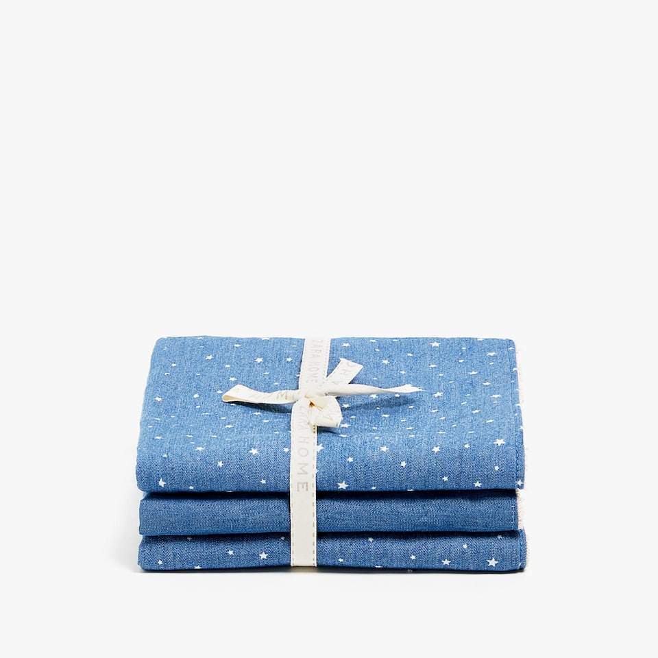STAR PRINT DENIM TOWEL (SET OF 3)