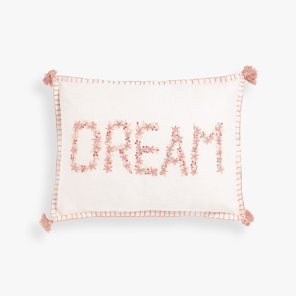 EMBROIDERED MESSAGE CUSHION COVER