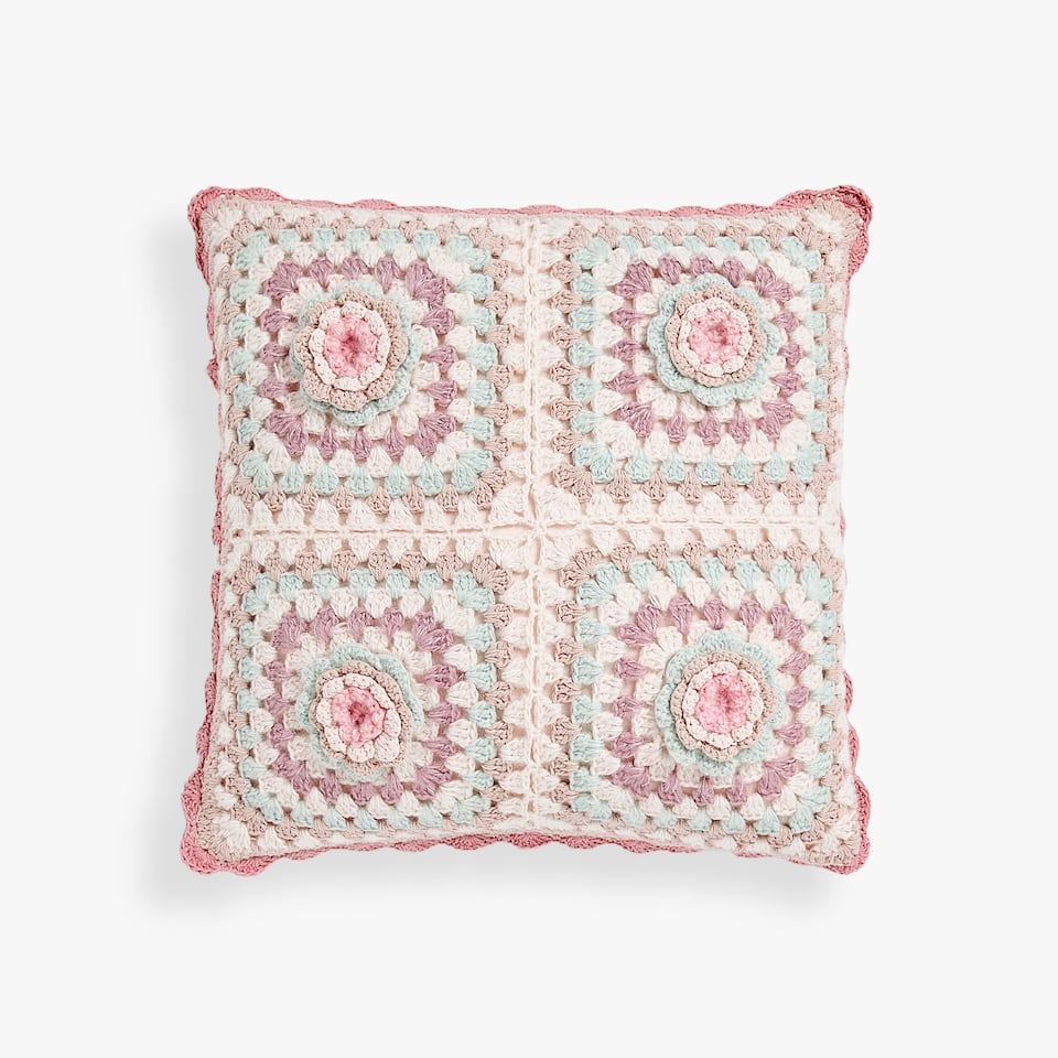 PATCHWORK CROCHET CUSHION COVER
