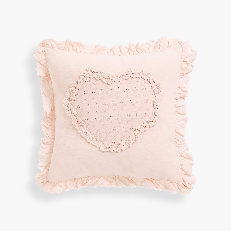 WASHED LINEN HEART CUSHION COVER
