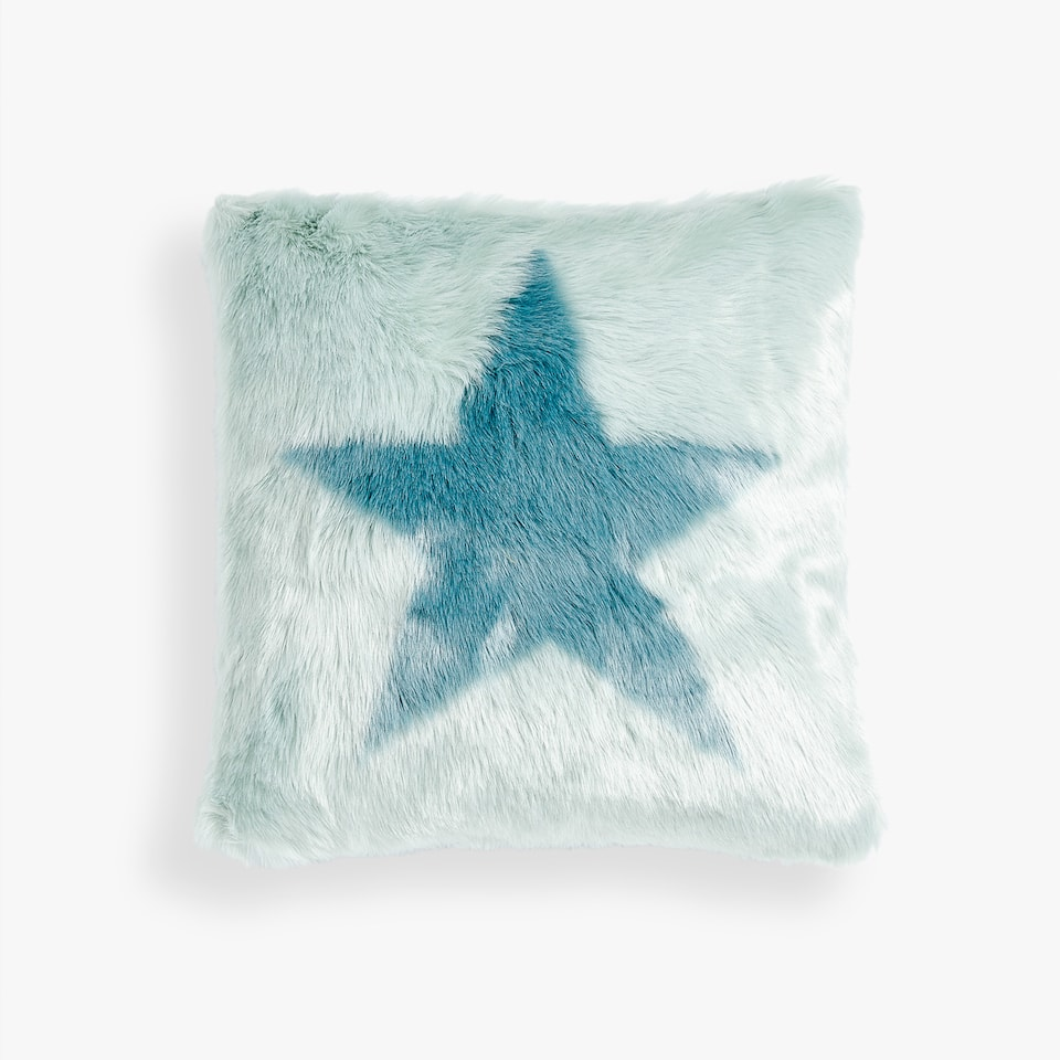 FAUX FUR STAR CUSHION COVER