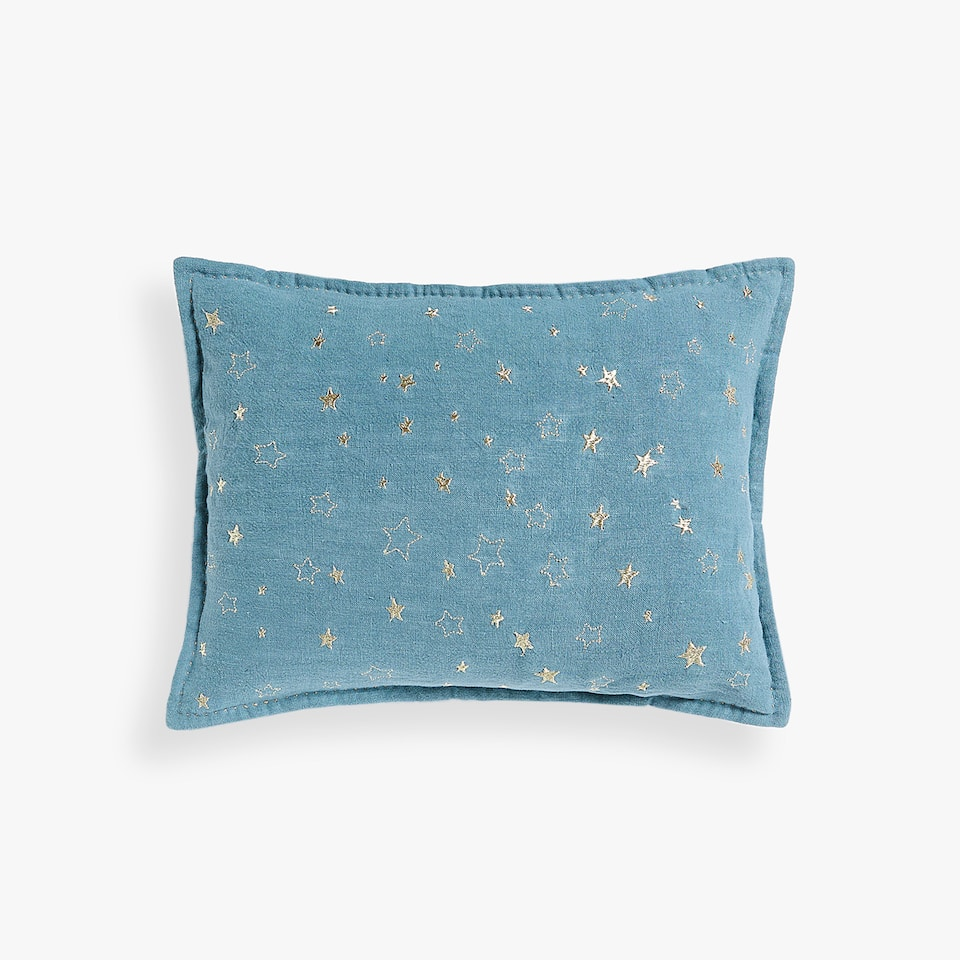 LINEN CUSHION COVER WITH STARS