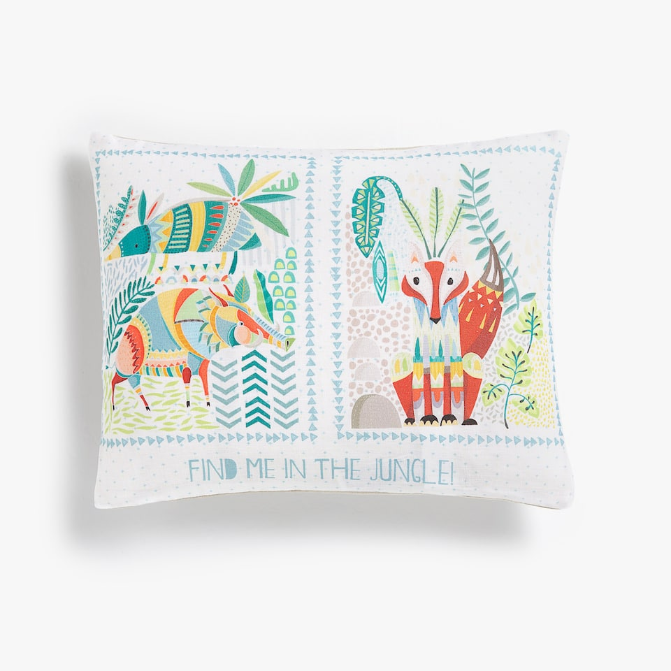 FOREST CREATURES LINEN CUSHION COVER WITH SLOGAN