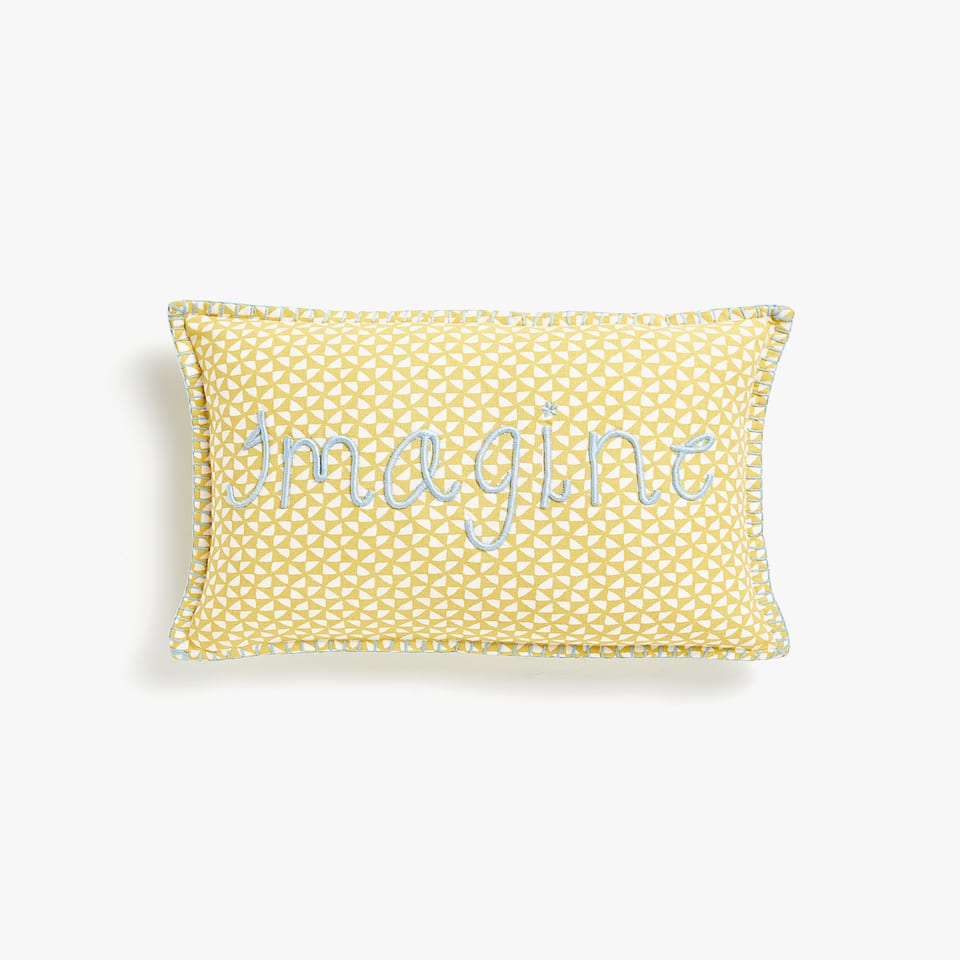 EMBROIDERED SLOGAN CUSHION COVER