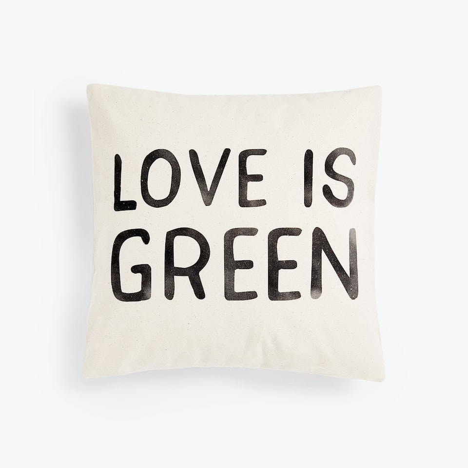 NATURAL COTTON CUSHION COVER WITH SLOGAN