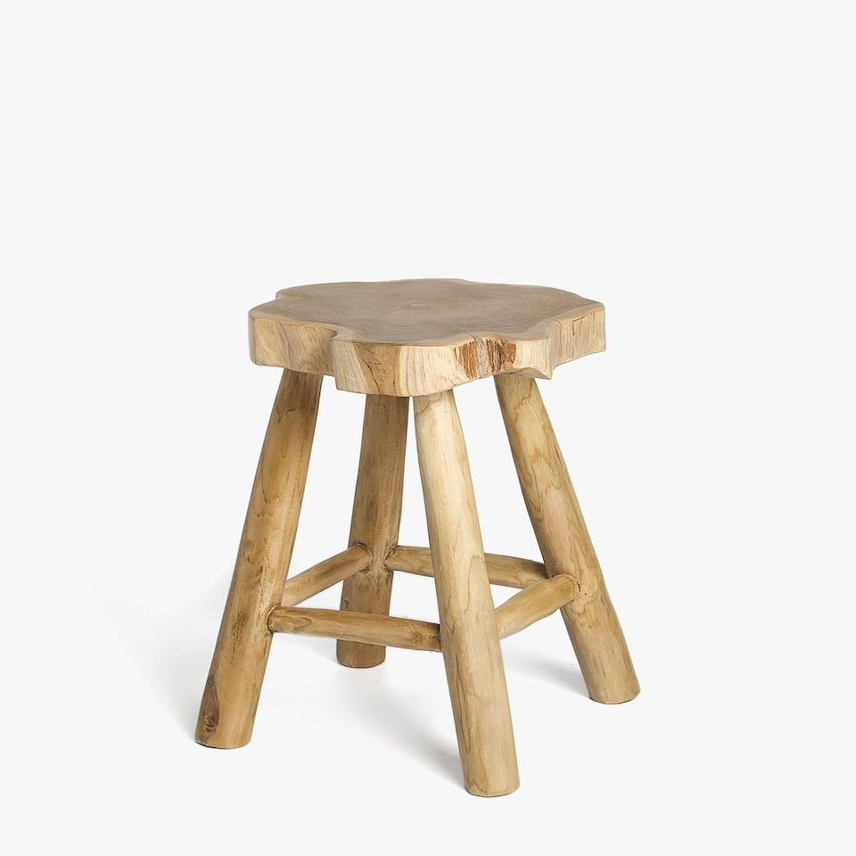 TEAK WOOD STOOL IN AN ORGANIC SHAPE
