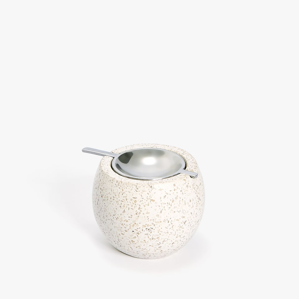 ROUND STONE AND METAL ASHTRAY