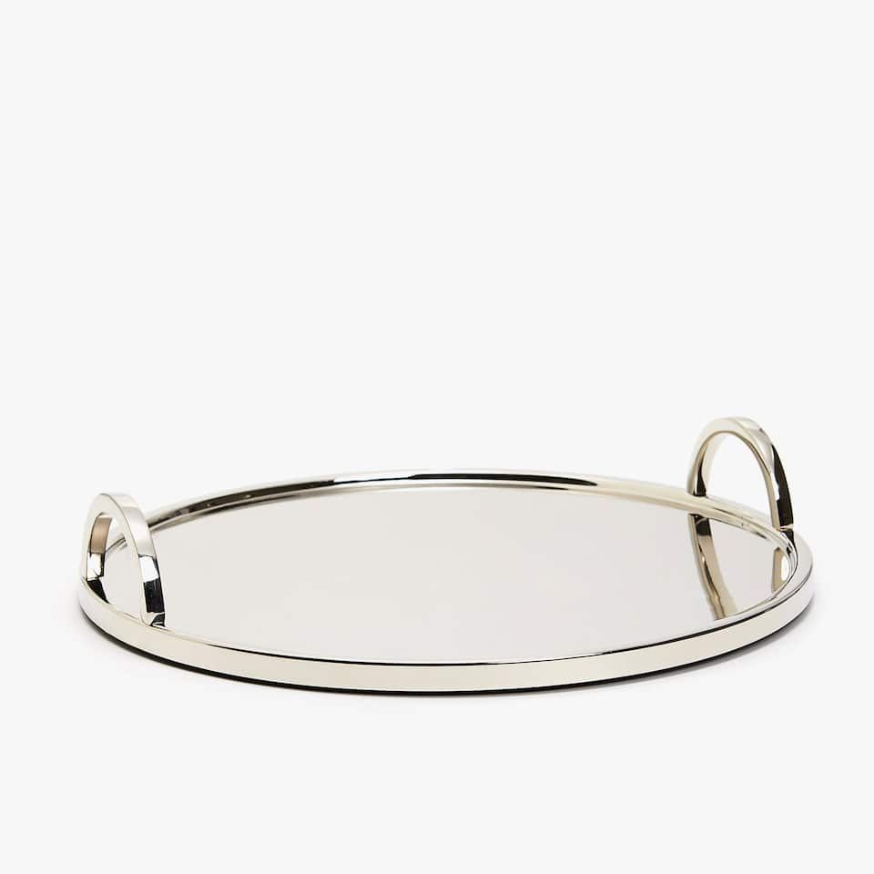 ROUND SILVER METAL TRAY WITH HANDLES