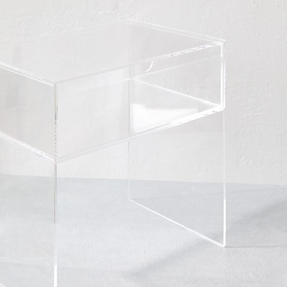 TABLE MÉTHACRYLATE TIROIR