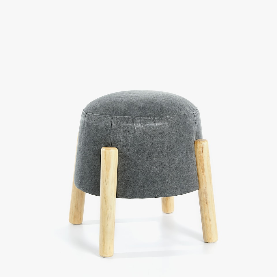 ROUND STOOL WITH WOODEN LEGS