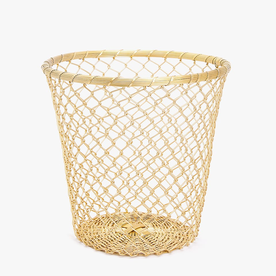 PLAITED METAL WASTEPAPER BASKET