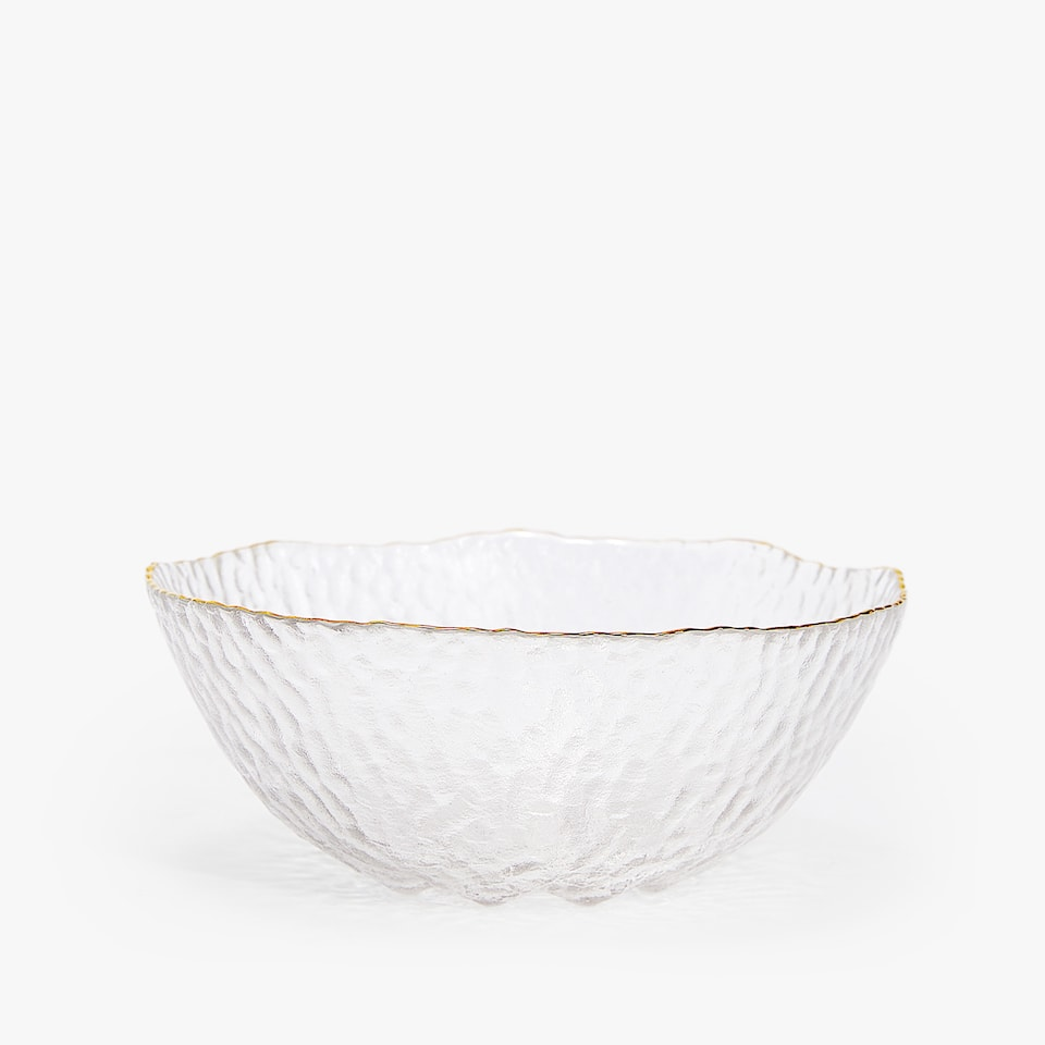 RAISED-DESIGN GLASS BOWL WITH METALLIC RIM