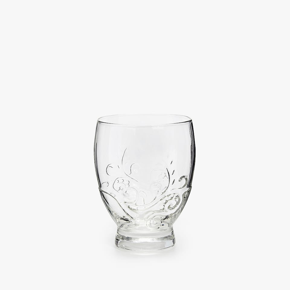 VASO VIDRIO RELIEVE FLORAL