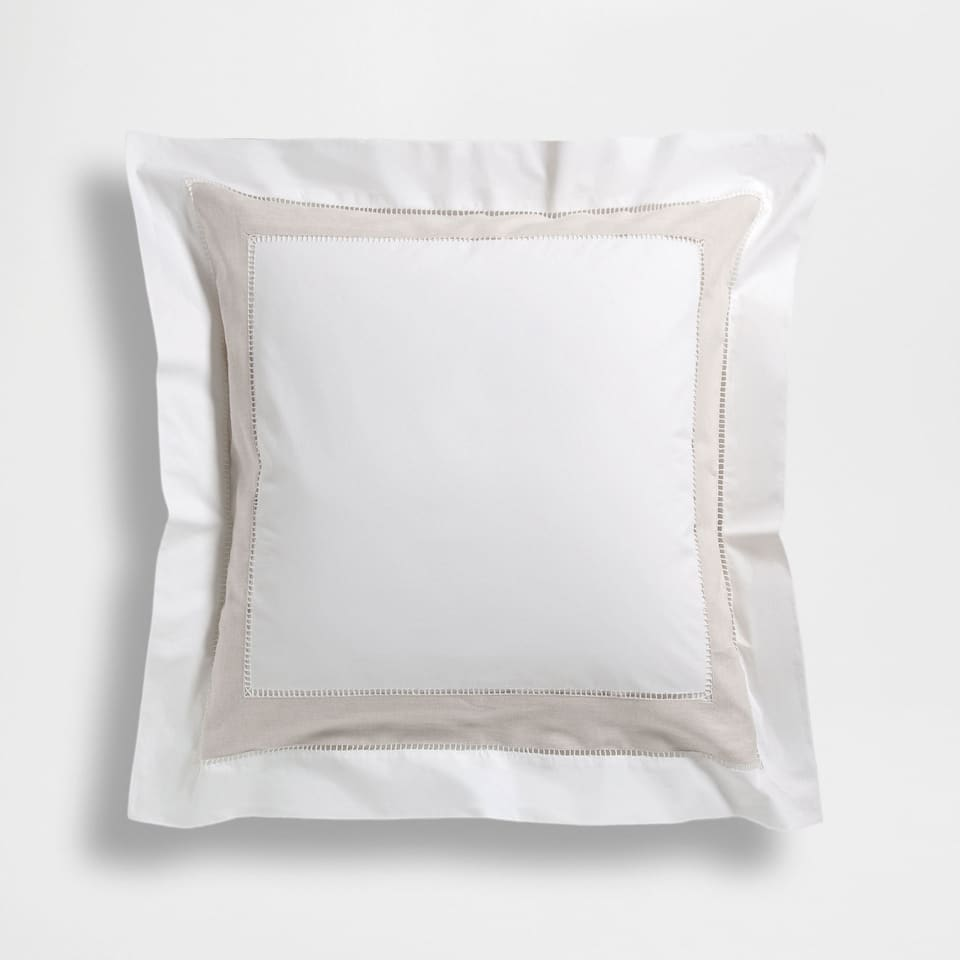 COTTON PILLOWCASE WITH CONTRASTING LINEN STRIP (SET OF 2)