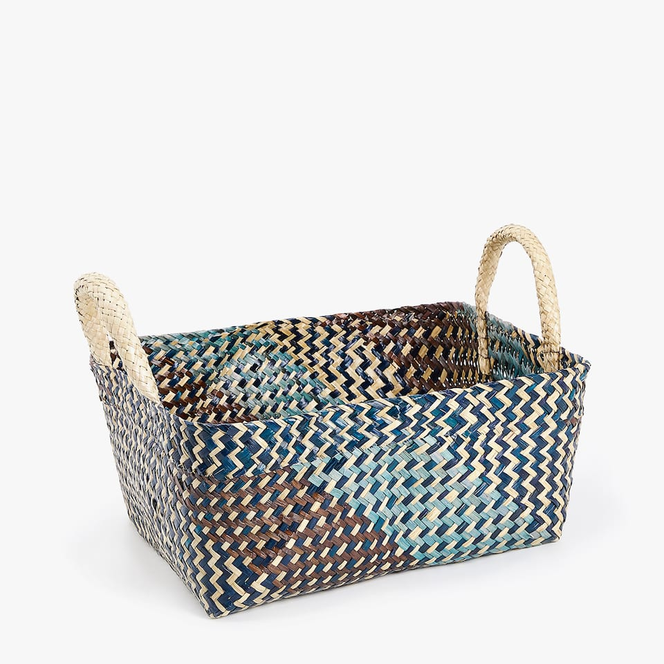 LARGE TWO-TONE BASKET WITH HANDLES
