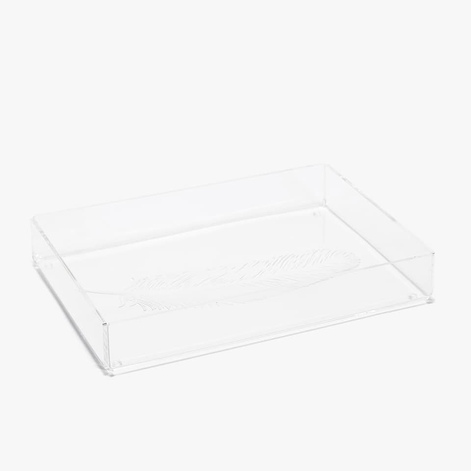 TRANSPARENT TRAY WITH SMALL FEATHER PRINT