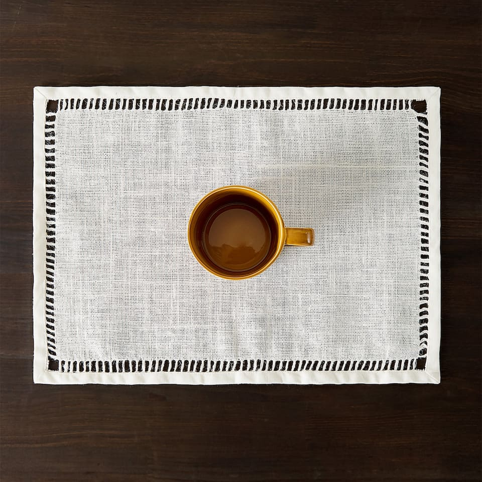 JUTE PLACEMAT WITH HEMSTITCHING (SET OF 2)