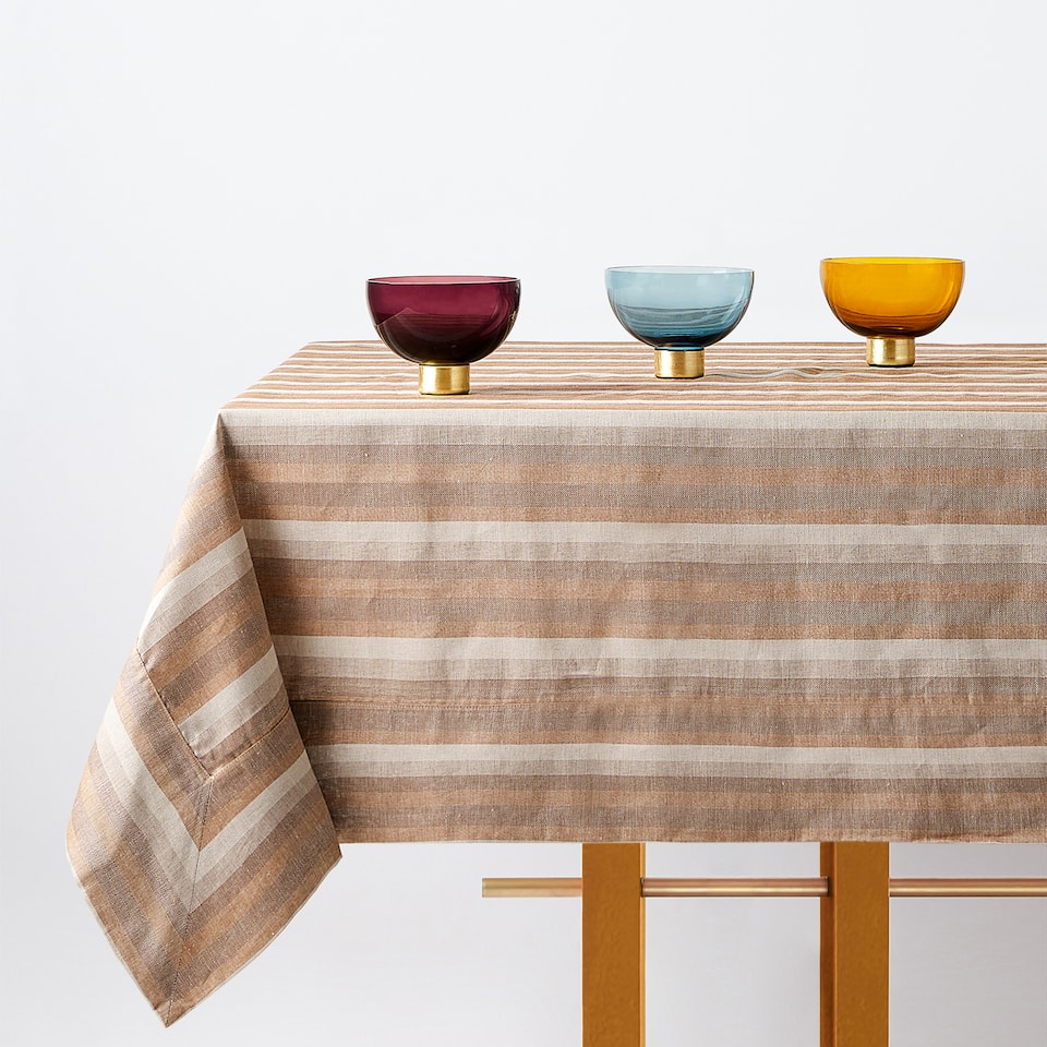HERRINGBONE STRIPED TABLECLOTH