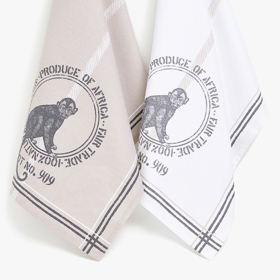 COTTON MONKEY TEA TOWEL (SET OF 2)