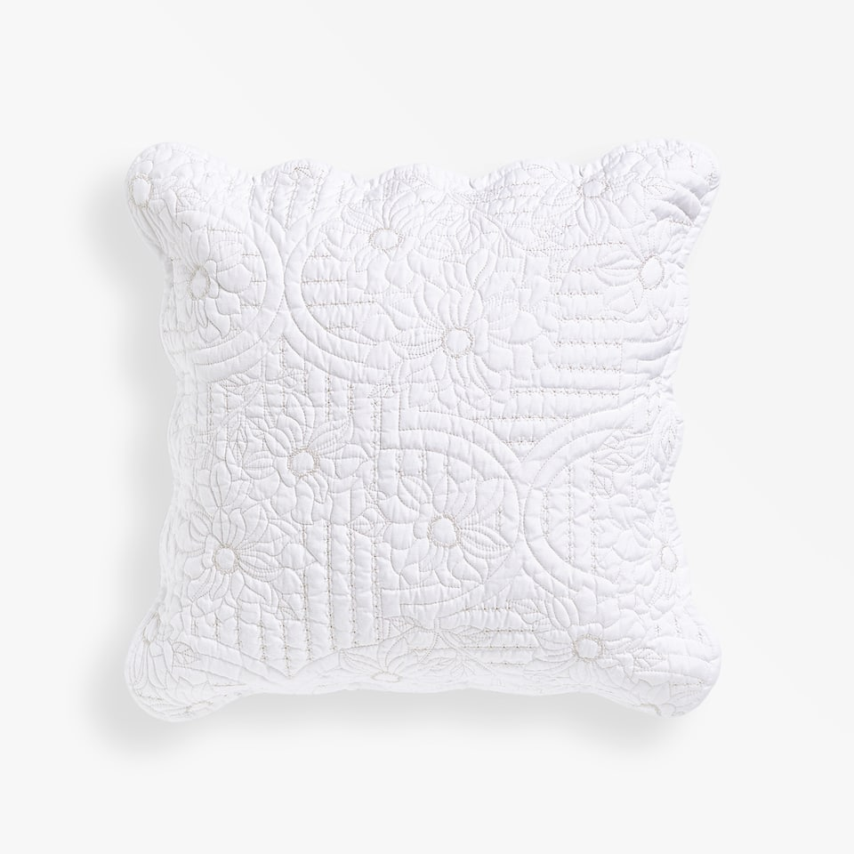 LEAVES THROW PILLOW COVER WITH A WAVY EDGE