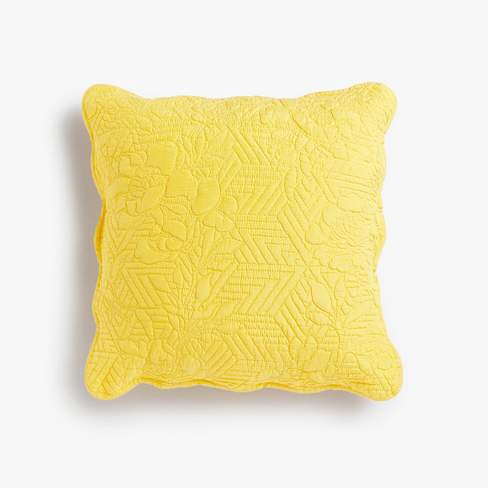 FLORAL AND GEOMETRIC DESIGN CUSHION COVER