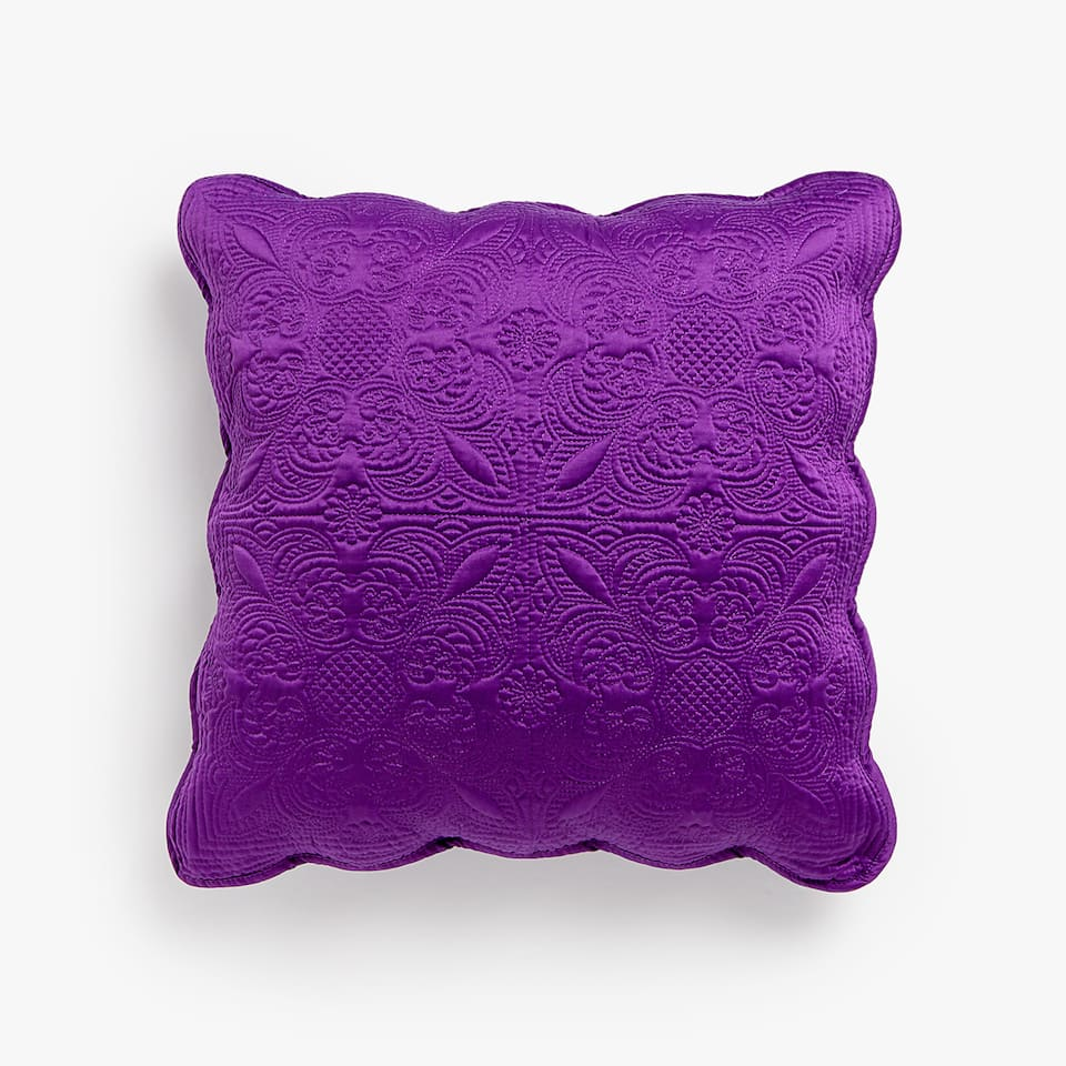 PURPLE RAISED DESIGN CUSHION COVER