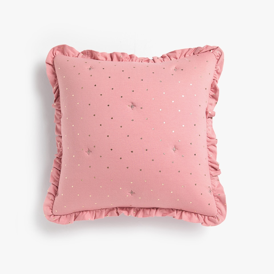 METALLIC POLKA DOTS PRINT CUSHION COVER