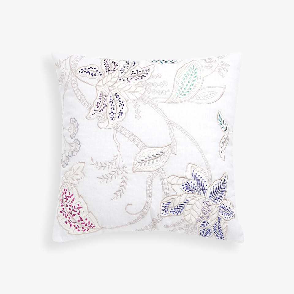 MULTICOLOURED FLORAL EMBROIDERED CUSHION COVER