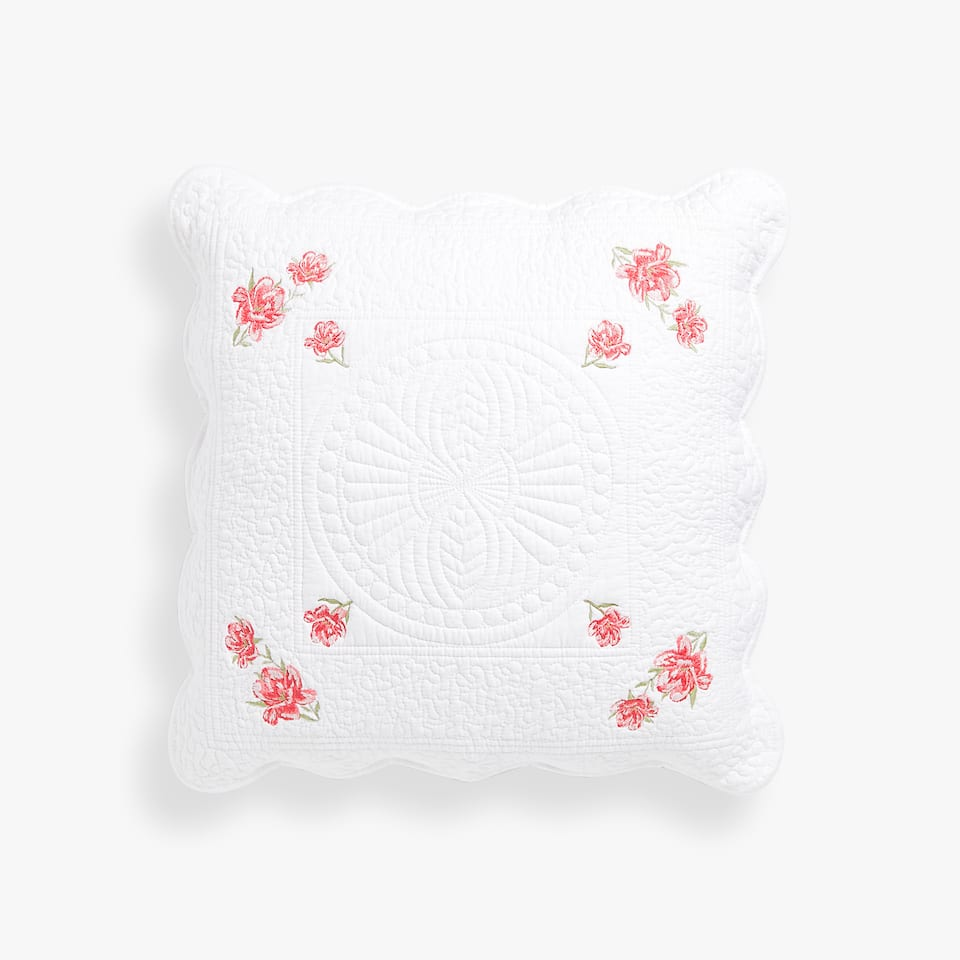 FLORAL EMBROIDERED PILLOW COVER