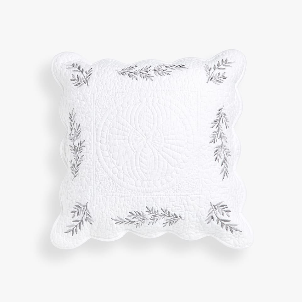 EMBROIDERED LEAVES THROW PILLOW COVER
