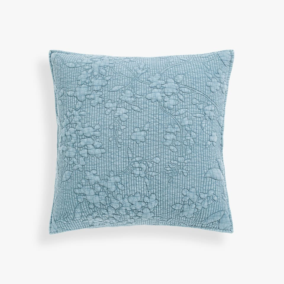 FADED FLORAL DESIGN COTTON PILLOW COVER