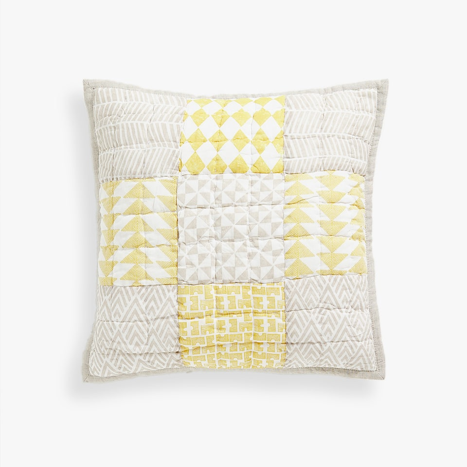 TWO-TONE PATCHWORK-PATTERN THROW PILLOW COVER