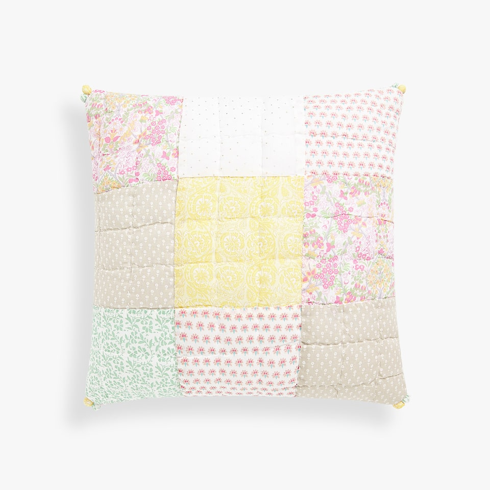 MULTICOLORED PATCHWORK THROW PILLOW COVER
