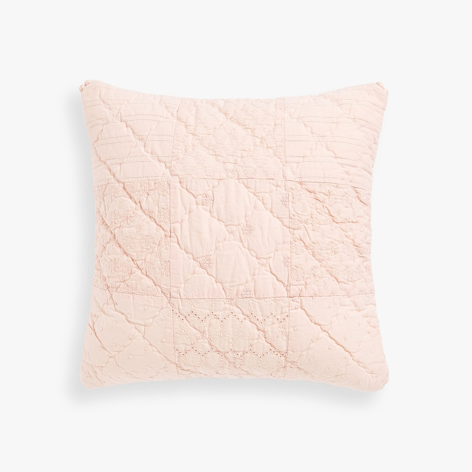 COTTON PILLOW COVER WITH BROIDERIE ANGLAISE