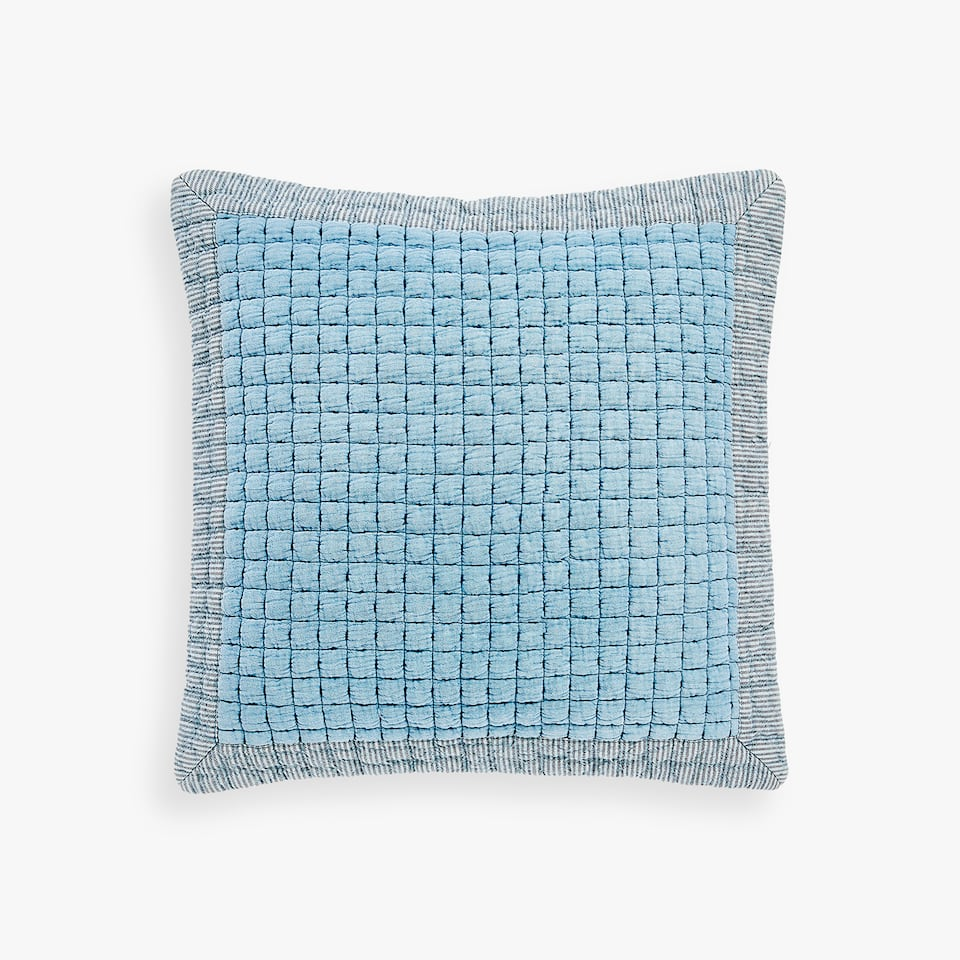 THROW PILLOW COVER WITH BACKSTITCHING CHECKS