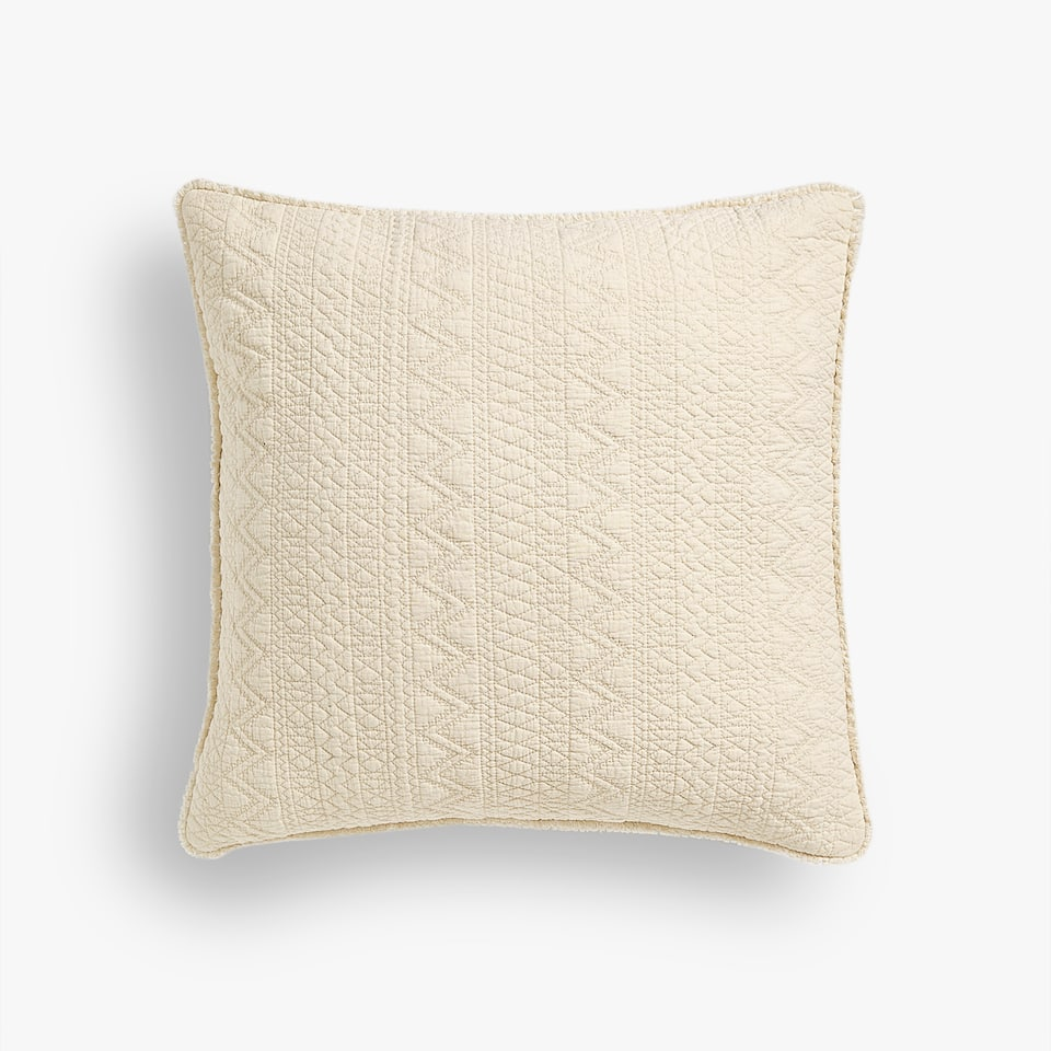 ZIGZAG COTTON CUSHION COVER WITH FRINGE