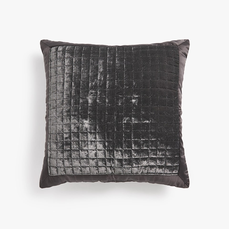 CHECKED VELVET CUSHION COVER
