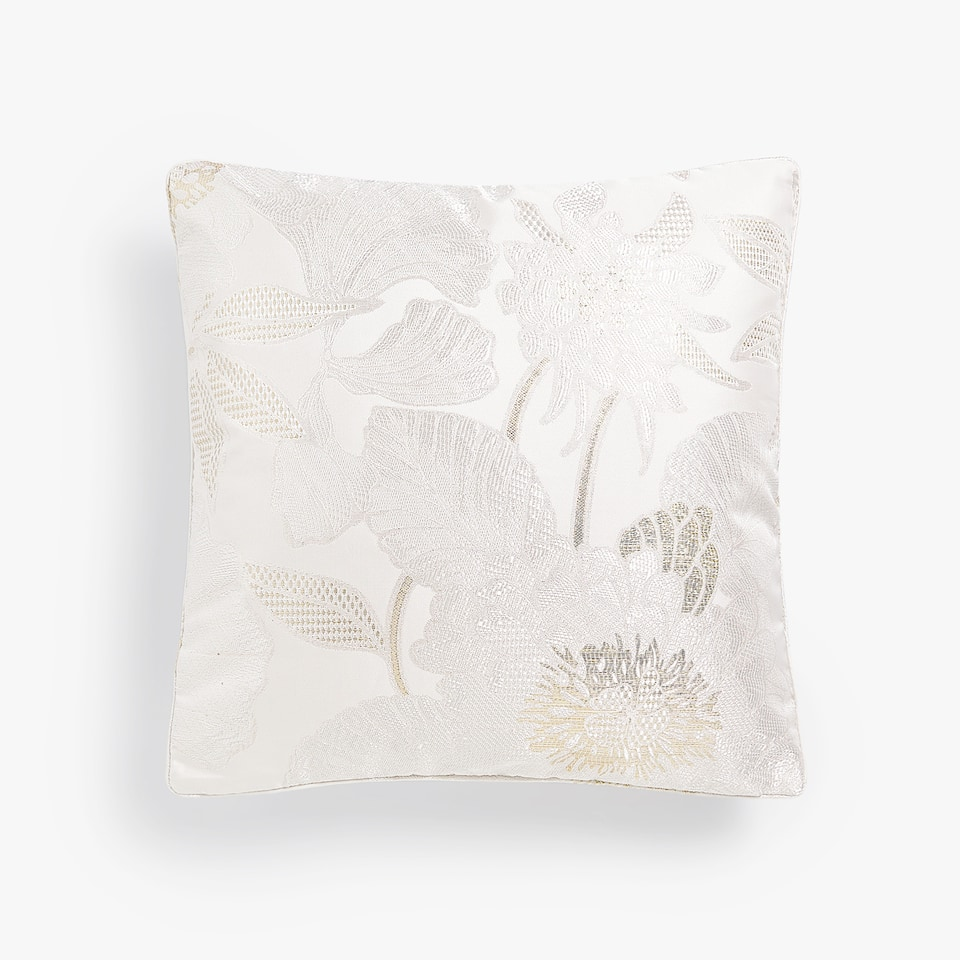 FLORAL JACQUARD THROW PILLOW COVER WITH METALLIC THREAD